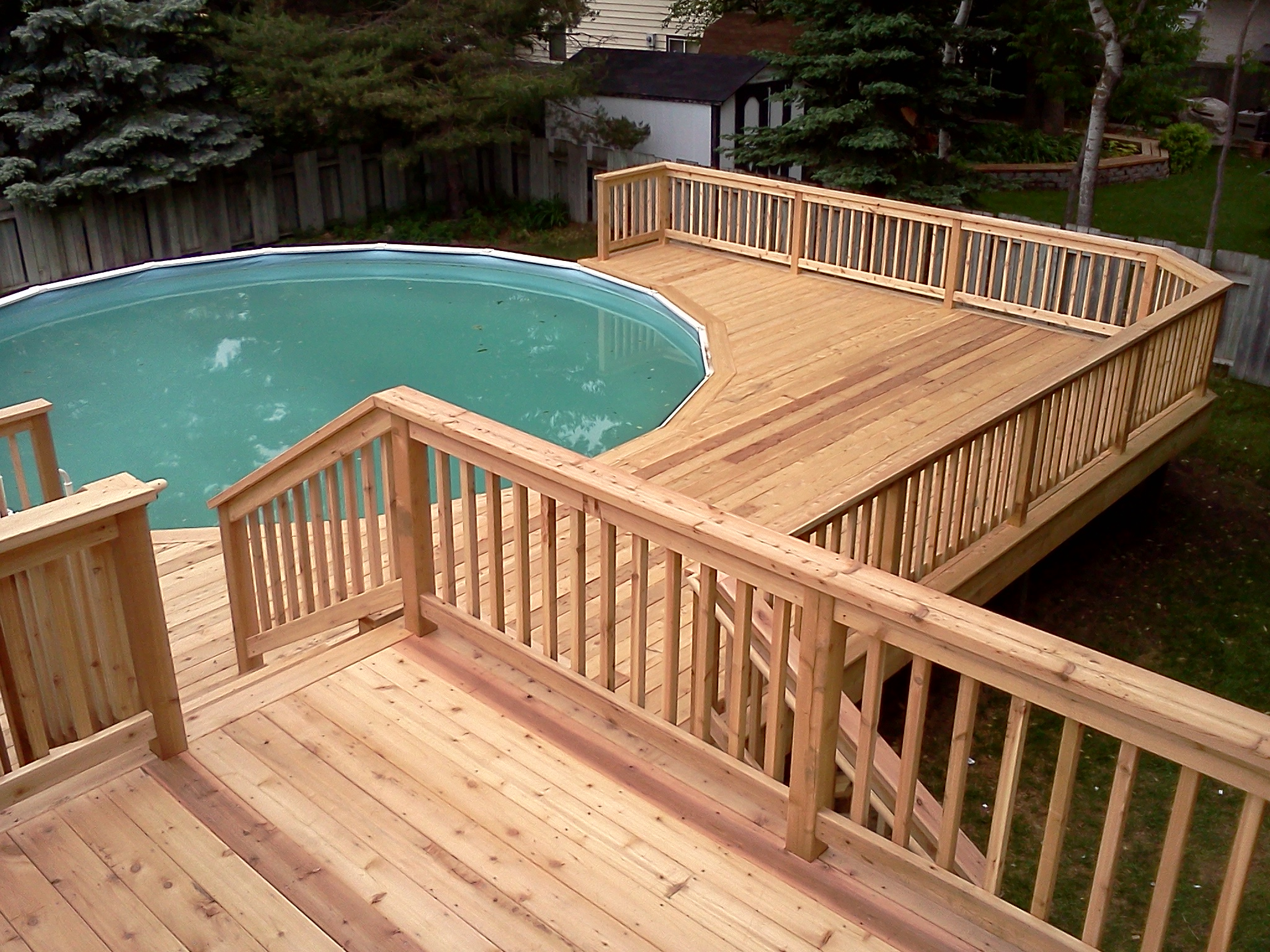 Pool deck wood example fairfax county virginia pool for Multi level deck above ground pool