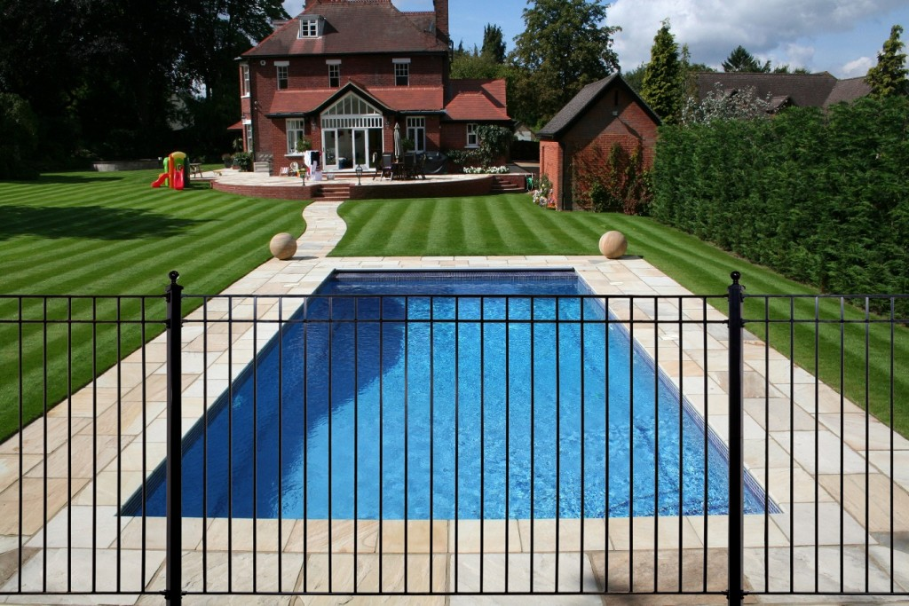 Residential Pool With Black Fence Fairfax County