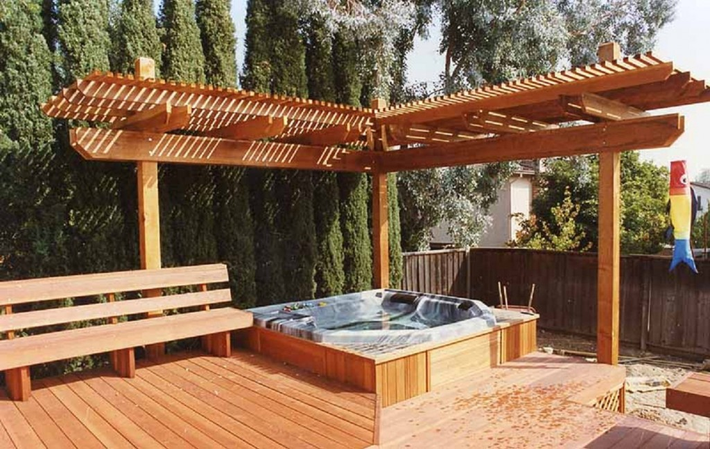 Wooden Outdoor Jacuzzi Example